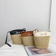 2020 Summer New Women Bag Chic Youth Straw Bucket Ladies Shoulder Crossbody Designer Female Mini Metal Button Beach