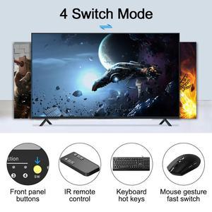 Image 3 - HDMI KVM Switch 4 Port 4K Ultra HD 4x1 HDMI KVM Switcher with 2 Pcs 5ft KVM Cables Supports Mechanical and Multimedia KVM USB2.0