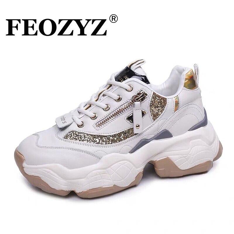 Sapatas do Esporte Tênis de Plataforma Feioz Sola Grossa Mulheres Running Shoes Mulher Zip Robusto