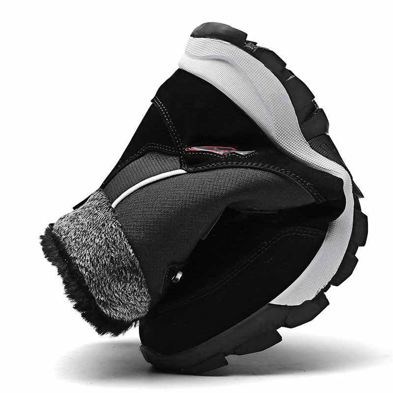 ERNESTNM איכות מיקרופייבר שלג מגפי 2019 חורף קרסול מגפי נשים חם קטיפה טריז נשים נעלי Size11 שחור נעלי נעליים