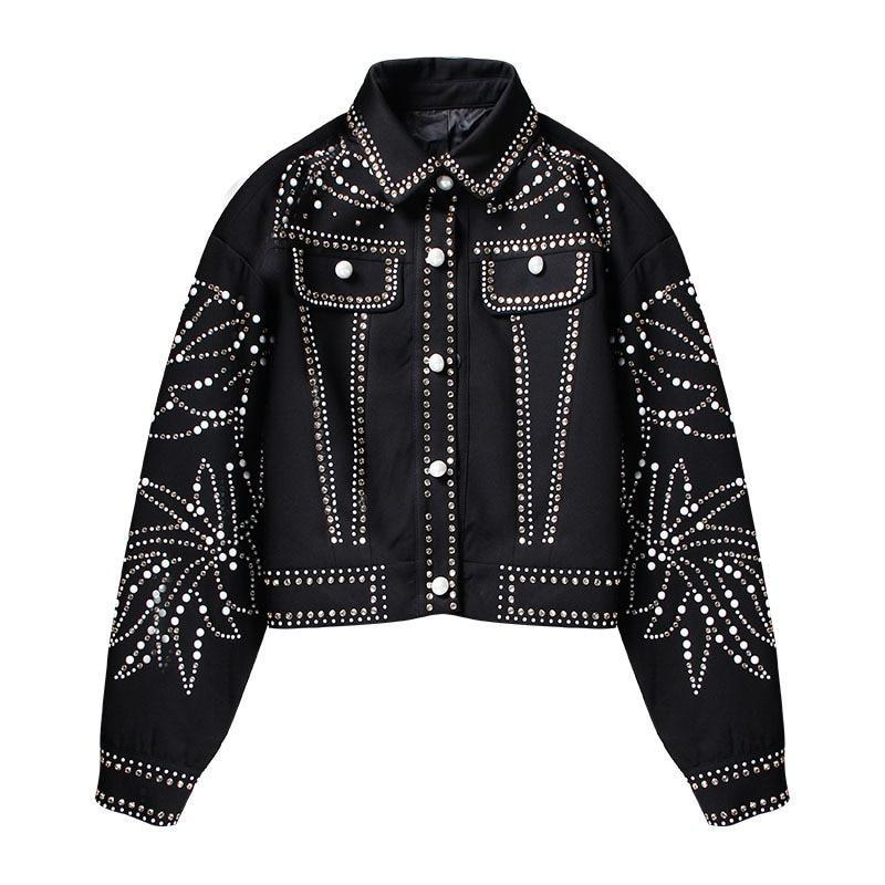 Europäischen Luxus Blatt Diamanten Niet Mantel Frauen 2019 Herbst Mode Streetwear drehen unten Kragen Langarm Schwarz denim jacke - 4
