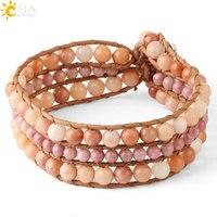 CSJA, кожаные браслеты, натуральный камень, круглый шар, бисерный браслет, линия родонита, плетеные браслеты, Женские Ювелирные изделия ручной...