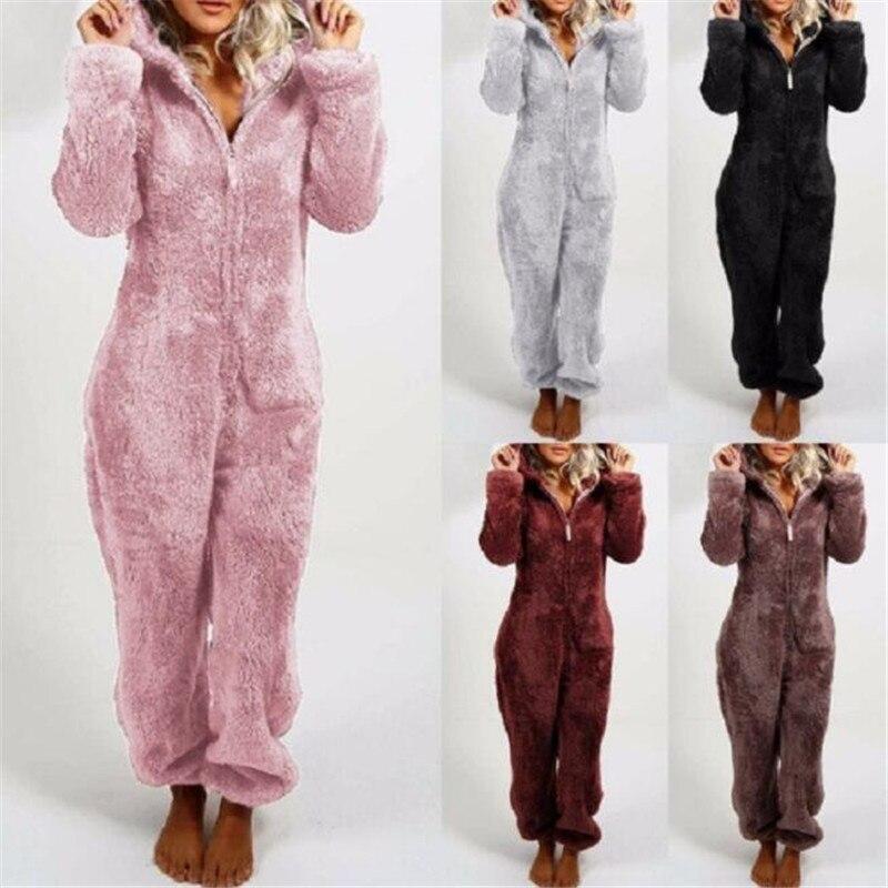 Pyjama combinaison polaire, moelleux et chaud pour femme