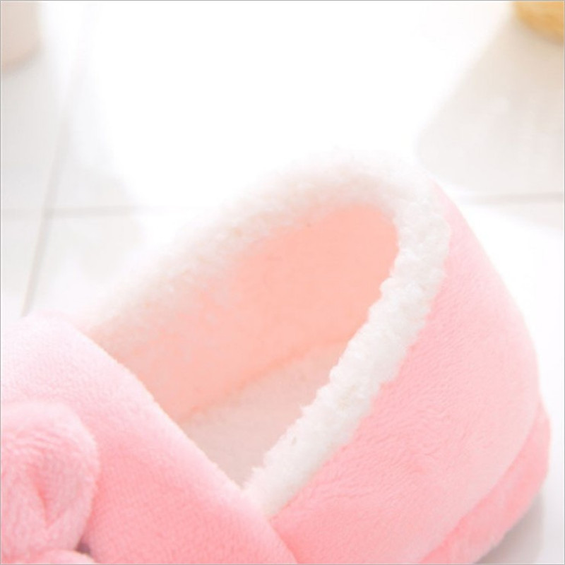 2018 Winter New Style Cartoon Bow Hello Kitty School Bag With Shoes Autumn And Winter Warm Anti-slip Thick Plush Cotton Slippers