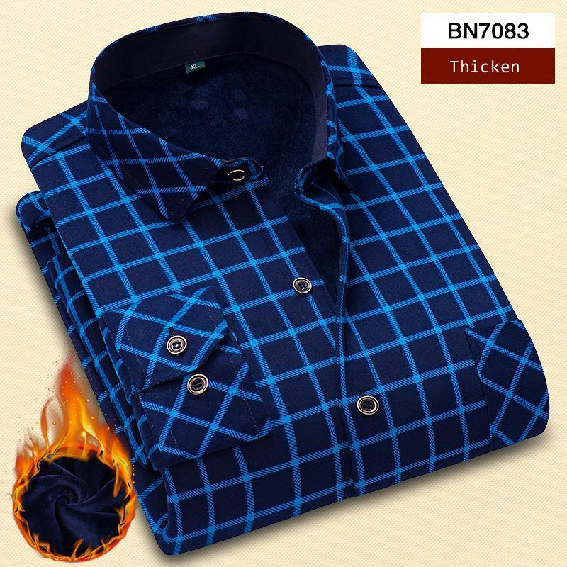 Fashions Turn-Down Collar Thickening Flannel Plaid Winter Fleece Shirts For Men Long Sleeve Plus Size Velvet Shirt Casual New