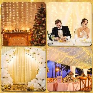 Праздничная Рождественская Декоративная гирлянда, 3 м x 3 м, 300 светодиодов, для дома и улицы, свадьбы, Рождества, Сказочная занавеска, гирлянды, гирлянда для вечевечерние|Светодиодная лента|   | АлиЭкспресс