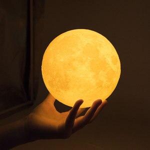 Image 1 - Rambery mond lampe 3D druck nacht licht Wiederaufladbare 3 Farbe Tap Control lampe lichter 16 Farben Ändern Remote FÜHRTE mond licht geschenk