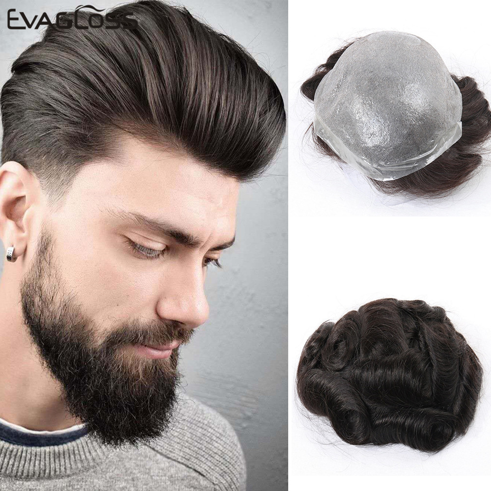 0.06 -0.08mm Super Thin Skin Men's Toupee Natural Indian Human Hair Male Wig Prosthesis Hair System For Men Free Shipping