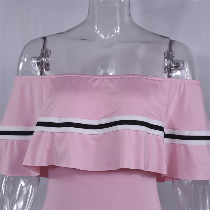 H111a7ae109e244bd840f1b0aab56055fW - Off Shoulder Slash Neck Sexy Autumn Party Dress Striped Ruffles Short Sleeve Summer Dress Women Plus Size Casual Beach Vestidos