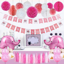 Baby Shower Decorations for Girl Elephant Theme It's A Girl Party Decor With Baby Elephant Balloons Pink Girl Shower Banners(China)