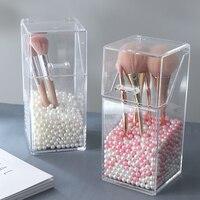 Klar Acryl Make Up Pinsel Halter mit Deckel Wasserdichte Staubdicht Lagerung Box abdeckung Kosmetik Pinsel Organisieren für Vanity Platte-in Aufbewahrungsboxen & Behälter aus Heim und Garten bei
