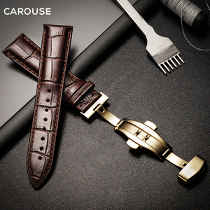 Image 5 - Carouse 시계 밴드 18mm 19mm 20mm 21mm 22mm 24mm 송아지 가죽 정품 시계 밴드 악어 그레인 시계 스트랩 Tissot 세이코