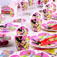 Pink Minnie Mouse Party Decoration Disposable Tableware Paper Cups Plate Candy Box Hat Baby Shower Girl Birthday Party Supplies