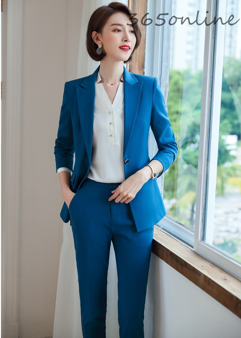 Autumn Winter Business Women Formal Uniform Designs Pantsuits With Pants And Jackets Professional Blazers