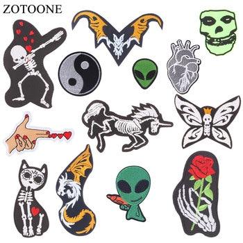 ZOTOONE 3D cráneo DIY insignias de tela Alien decorar parche Jeans bolsa sombrero ropa costura decoración apliques parches H