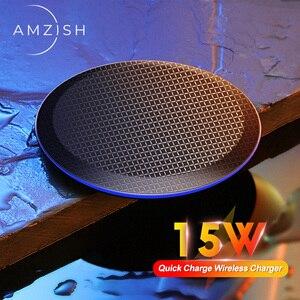 Image 1 - Amzish 15W מהיר צ י אלחוטי מטען עבור iPhone 11 פרו 8 X XR XS מקסימום 15W USB מהיר טעינה אלחוטי Pad עבור סמסונג S10 S9 Note9