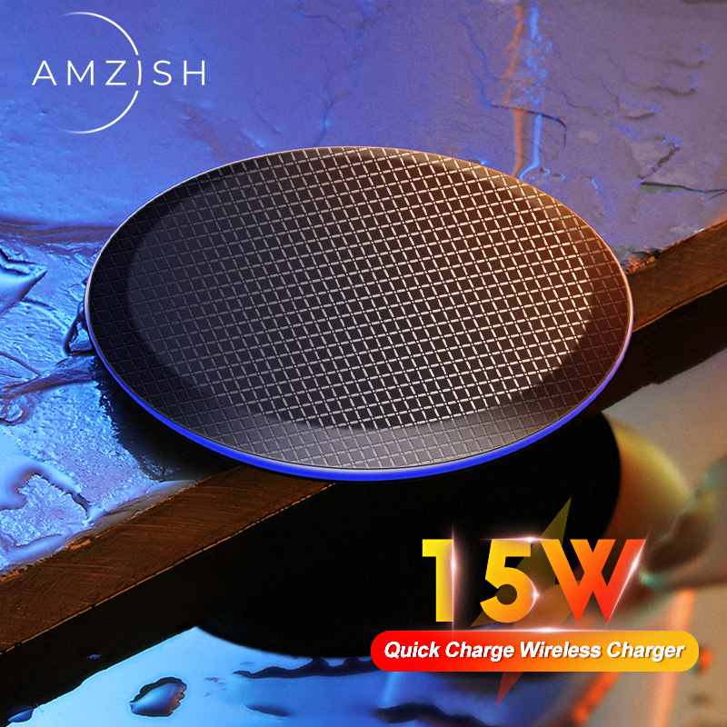 Amzish 15W Fast QI Wireless Charger For IPhone 11 Pro 8 X XR XS Max 15W USB Quick Wireless Charging Pad For Samsung S10 S9 Note9