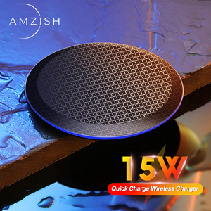 Image 1 - amzish 15W Fast QI Wireless Charger For iPhone 11 Pro 8 X XR XS Max 15W USB Quick Wireless Charging Pad For Samsung S10 S9 Note9