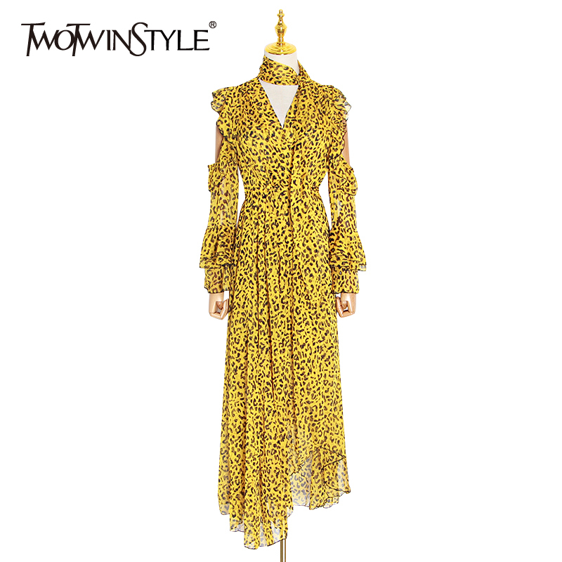 TWOTWINSTYLE Leopard Female Dresses For Women Off Shoulder Flare Sleeve Asymmetric Hem Backless Ruffles Dress Female Vintage New