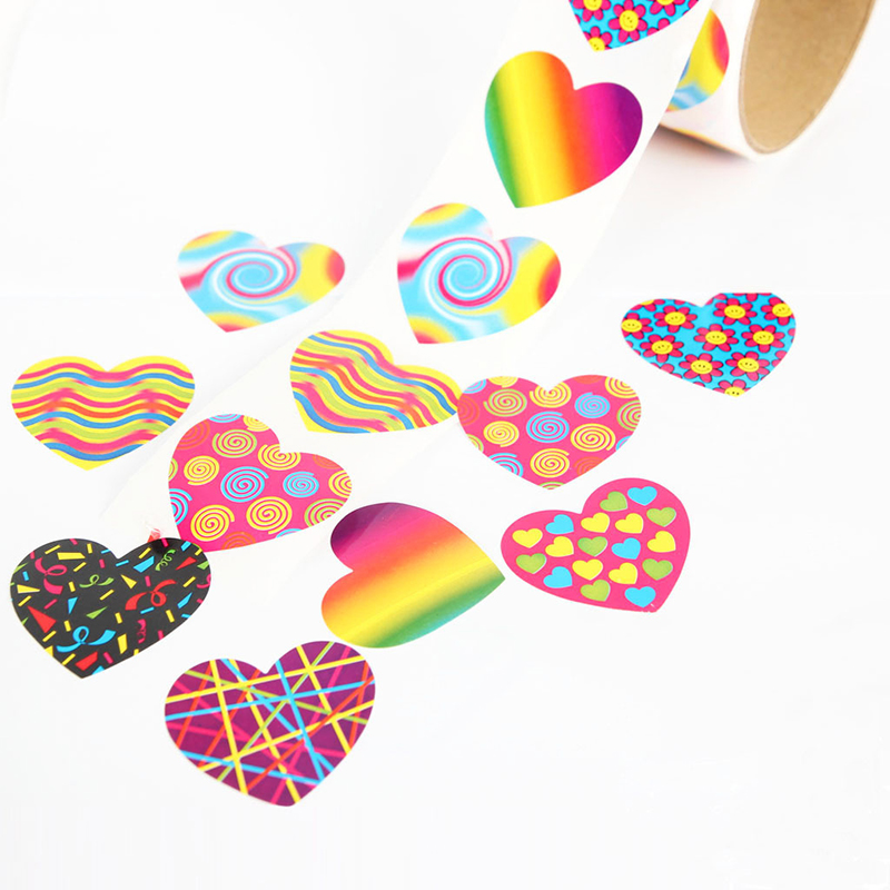 One Roll Creative Adhesive Tape With 100pcs Colorful Heart Shape Stickers For Kids Great Gift Fashion Stationery Sticker Toy