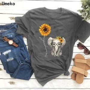 Женская футболка с принтом слона и подсолнуха Umeko, Повседневная футболка с коротким рукавом и круглым вырезом, топы для женщин, милые футболки с героями мультфильмов, женская одежда