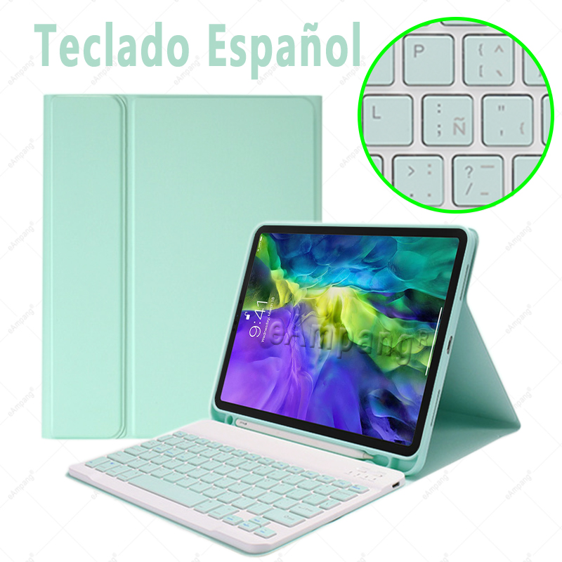 Spanish no Mouse Ivory For iPad Air4 10 9 2020 A2324 A2072 Keyboard Mouse Case English Russian Spanish Korean Keyboard