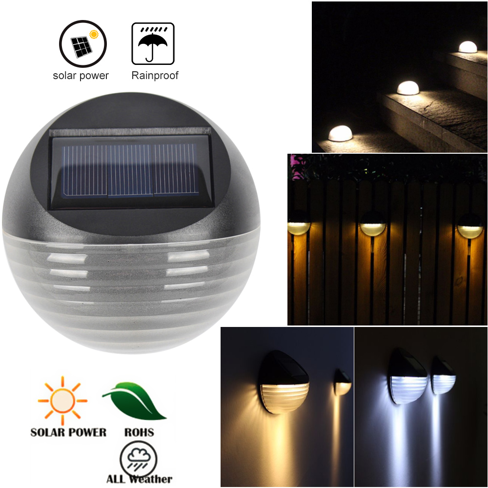 6 LED Solar Powered Light Outdoor Waterproof IP65 Beads Round Shape Garden Yard Wall Lamp Warm White/White Fence Lights