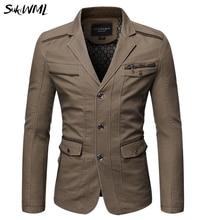 SUKIWML Mens Suit Jacket Blazers 2019 New Pocket Cotton Men Jacket Sui