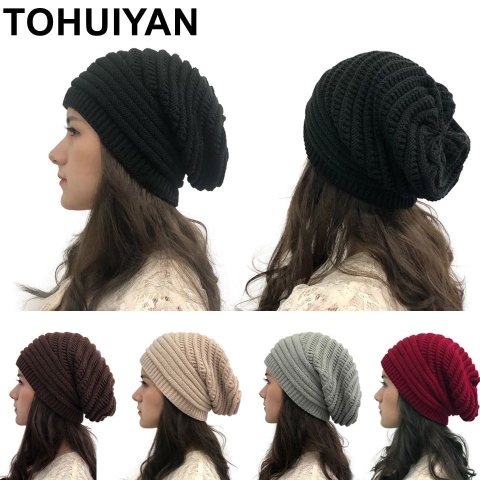 TOHUIYAN 2019 Winter Knitted Hats For Women Thick Warm Beanies Female Slouch Skullies Hat Girls Knit Striped Bonnet Beanie Caps