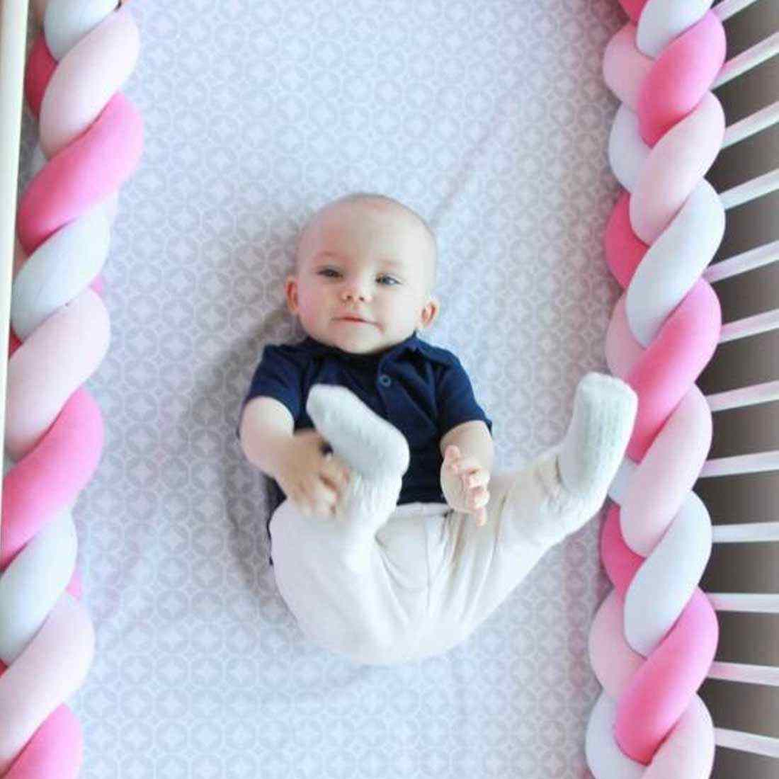 1 M/2 M/3 M תינוק בעבודת יד קשר יילוד מיטת פגוש ארוך מסוקס צמת כרית תינוק מיטה פגוש קשר עריסה תינוקות חדר דקור