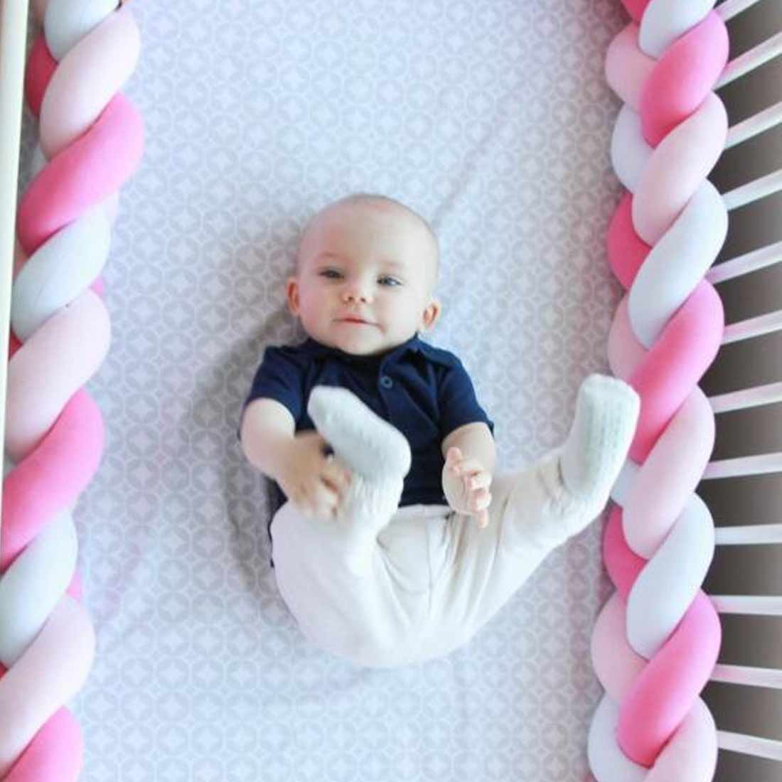 Baby Bed Bumper Knot Long Handmade Knotted Braid Weaving Plush Baby Crib Protector Infant Knot Pillow Room Decor 1M/2M/3M