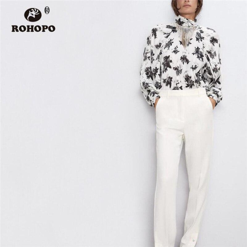 ROHOPO/белая блузка с длинными рукавами и цветочным принтом, с длинными рукавами, с разрезом на спине, с кисточками, с рисунком, Vinatge, элегантные ...