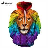 Raisevern zabawna głowa lwa drukuj 3D bluza z kapturem kolorowe malowane lew bluza mężczyźni kobiety Unisex Plus rozmiar dresy z kapturem Dropship