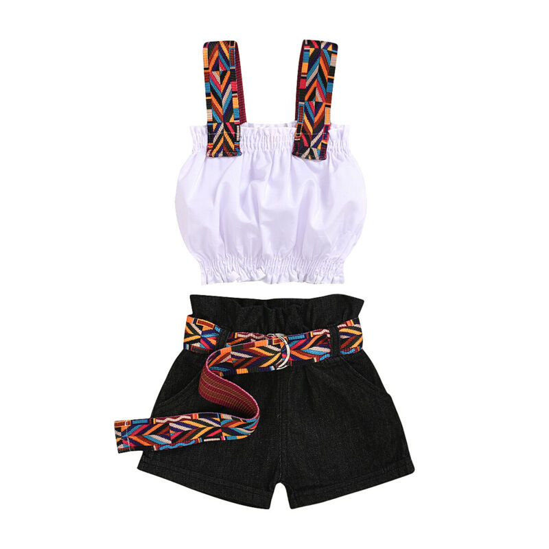 2020 Kids Toddler Baby Girl ummer outfit Spaghetti Strap White Crop Tops Vest Black Belt Shorts Jeans Pants  Fashion 2PCS Set 1