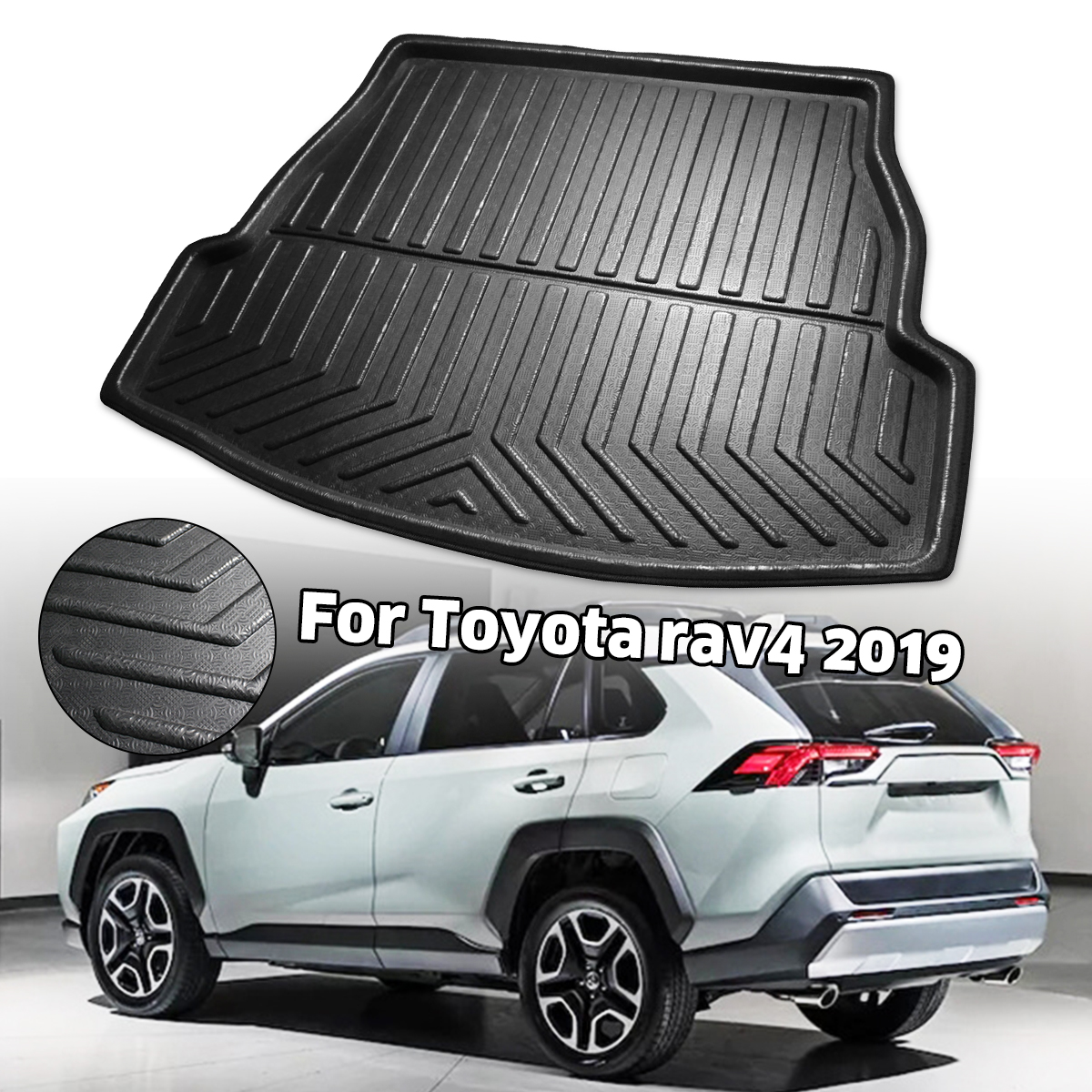 Car Rear Trunk Cargo Liner Boot Tray Cover Matt Mat Floor Carpet Kick Pad For Toyota RAV4 2019 2020 XA50
