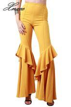 New Women Flare Pants Elegant Stretch High Waist Wide Leg Long Xnxee
