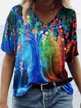 Verão nova camisa de grandes dimensões roupas casuais femininas moda topos flor pintada plus size macio confortável solta camisetas femininas