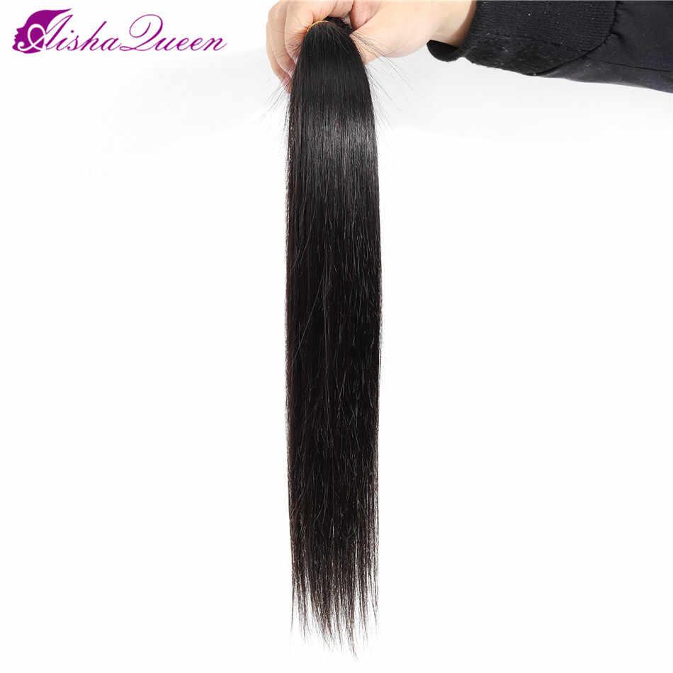 Aisha kraliçe brezilyalı düz saç demetleri doğal renk 100% insan saçı örgüsü paketler olmayan Remy saç ekleme