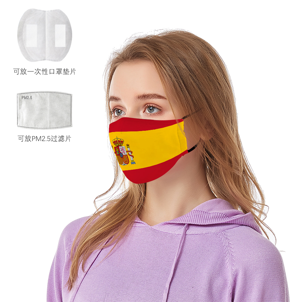 2020 NEW 3D National Flag Masks+Pm2.5 Women/Men United States Mask Uk Spain Italy Anti Dust Reusable Street Face Mask