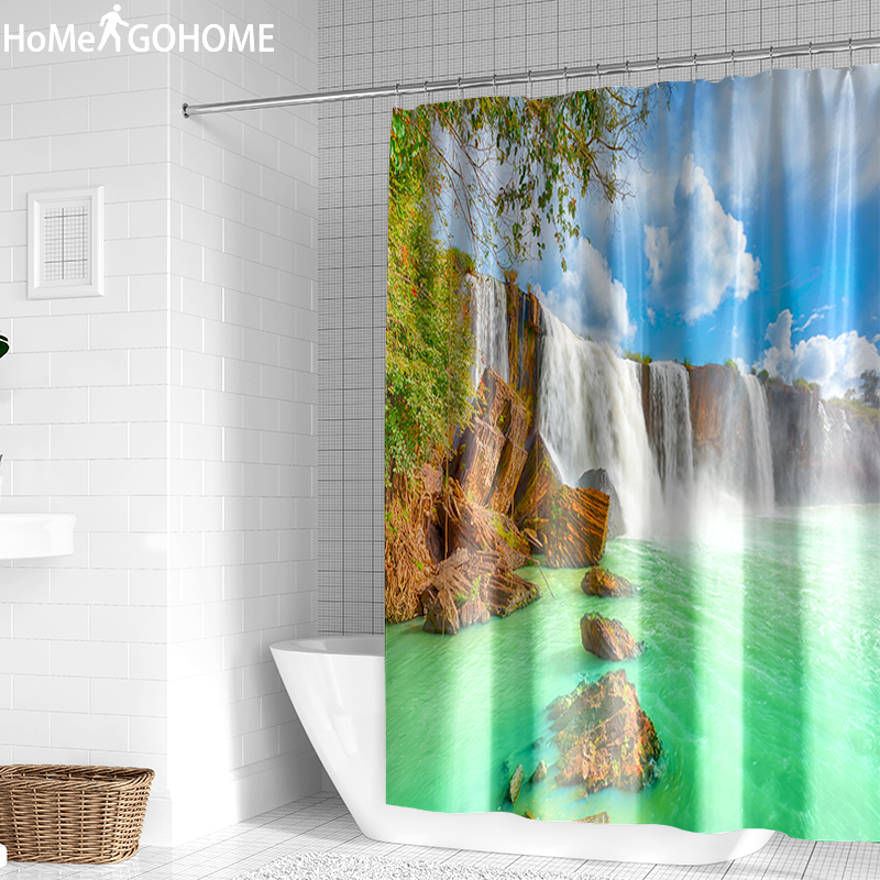 Psychedelic Nature Waterfall 3D Shower Curtains Bathroom Curtain Boho Hippie Bath Curtain Polyester Fabric Home Bathtub Decor in Shower Curtains from Home Garden