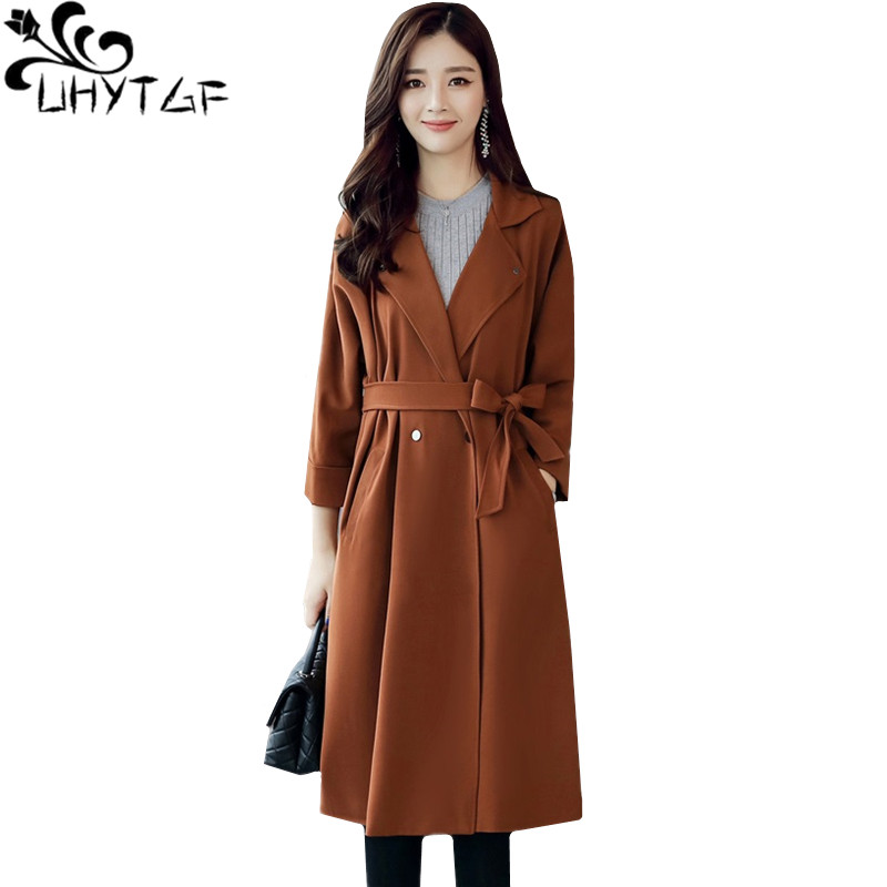 UHYTGF Women's coat Double-breasted casual Female spring autumn   trench   coat Korean loose 4XL plus size windbreaker long coat 710