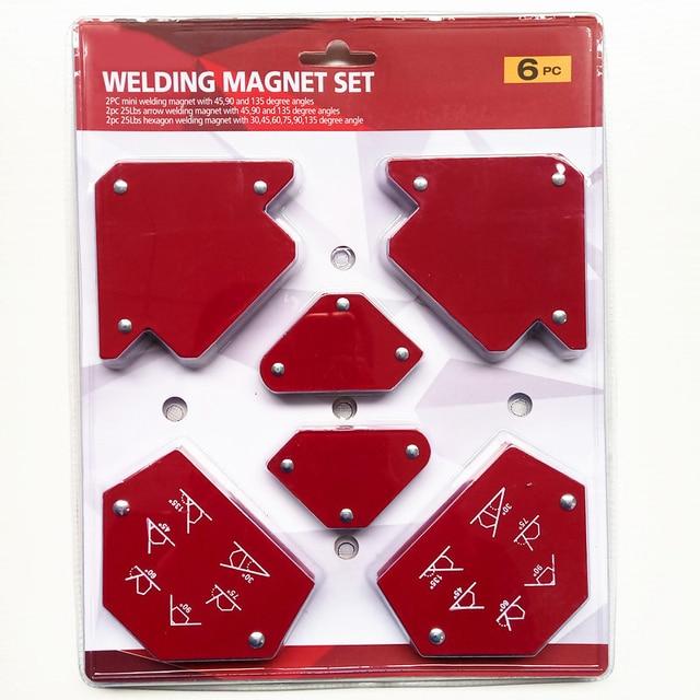 6 sztuk/zestaw trójkąt pozycjoner spawalniczy magnetyczny stały kąt lutowania lokalizator narzędzie bez przełącznika akcesoria spawalnicze