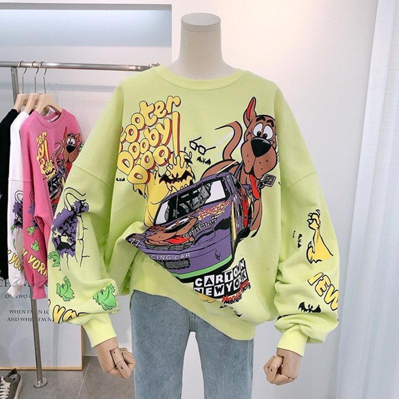 Women Hoodies Autumn 2020 Funny Cartoon Car & Dog Print Sweatshirt Oversized Streetwear Sweatshirts Hip Hop Cool Pullover Tops 5