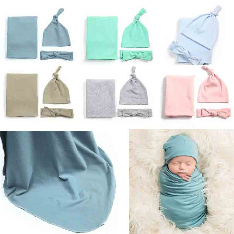 2-3 Pcs/set Maternal And Child Supplies Baby Swaddle Newborn Wrap Cap Hair Band Photography Photo Props Blanket Hat