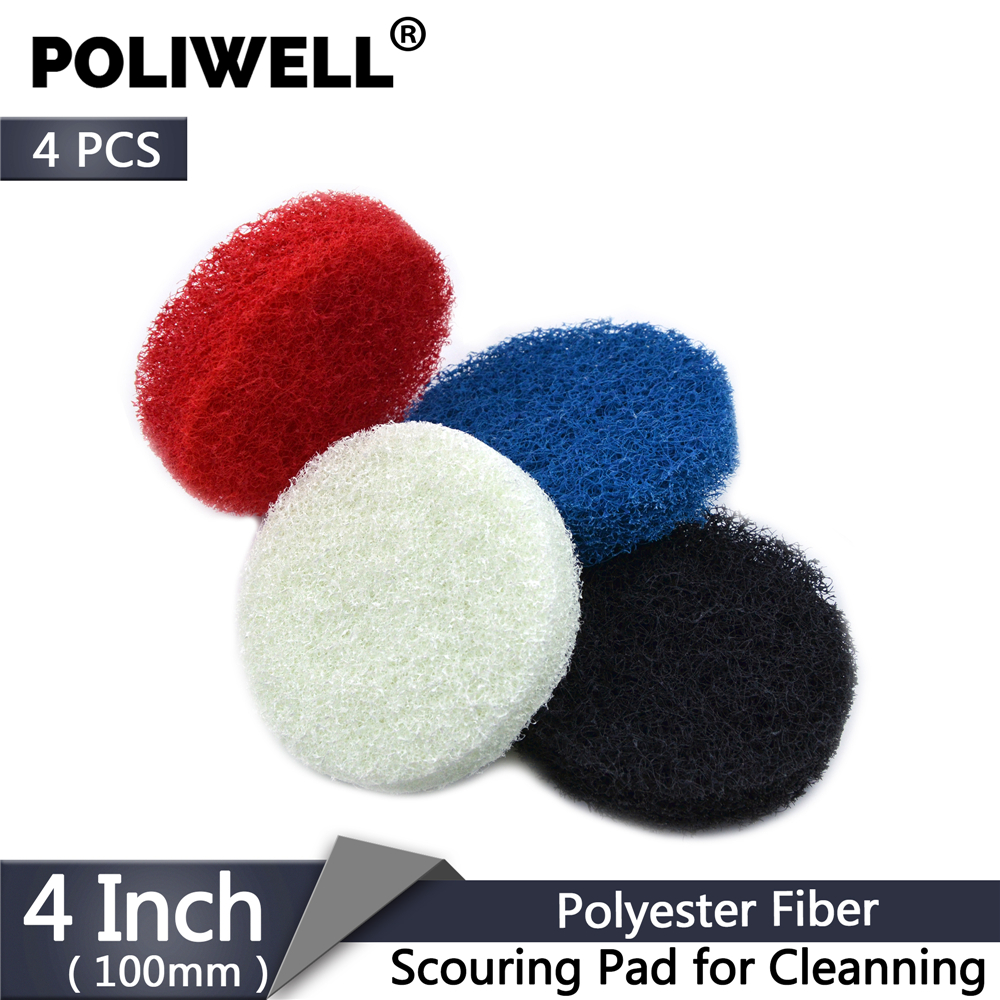 POLIWELL 4PCS 4 Inch 100mm Polyester Scrubbing Pads Industrial Scouring Pad Bathroom Kitchen Automotive Cleaning Polishing Kit