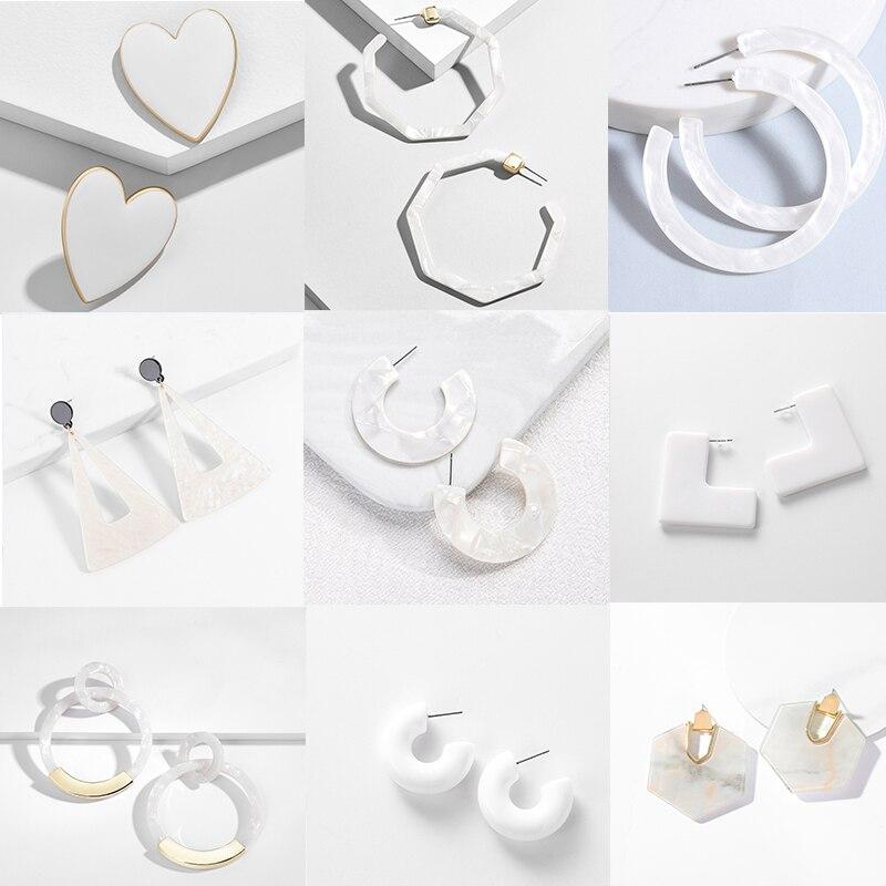 Женские акриловые серьги-подвески Za, элегантные белые висячие серьги геометрической формы, в форме сердца, круглых листьев, цветов, эффектн...