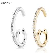 ANDYWEN-boucles d'oreilles en argent Sterling 925 pour femmes, cercles, cercles ouverts, doubles cerceaux, bijoux CZ en cristal, à la mode