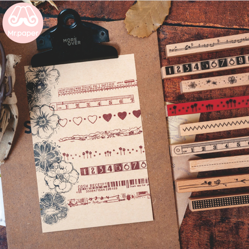Mr.paper Strip Flowers Ruler Num Fashion Stamp DIY Wooden Rubber Stamps For Scrapbooking Stationery Scrapbooking Standard Stamp