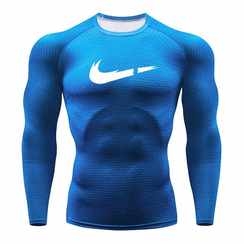Pria K Berlaku Cepat-Dry Gym T Shirt Pria Berjalan Tshirt 3D Ular Pencetakan Kompresi Tights Pria Merek Kebugaran Panjang lengan