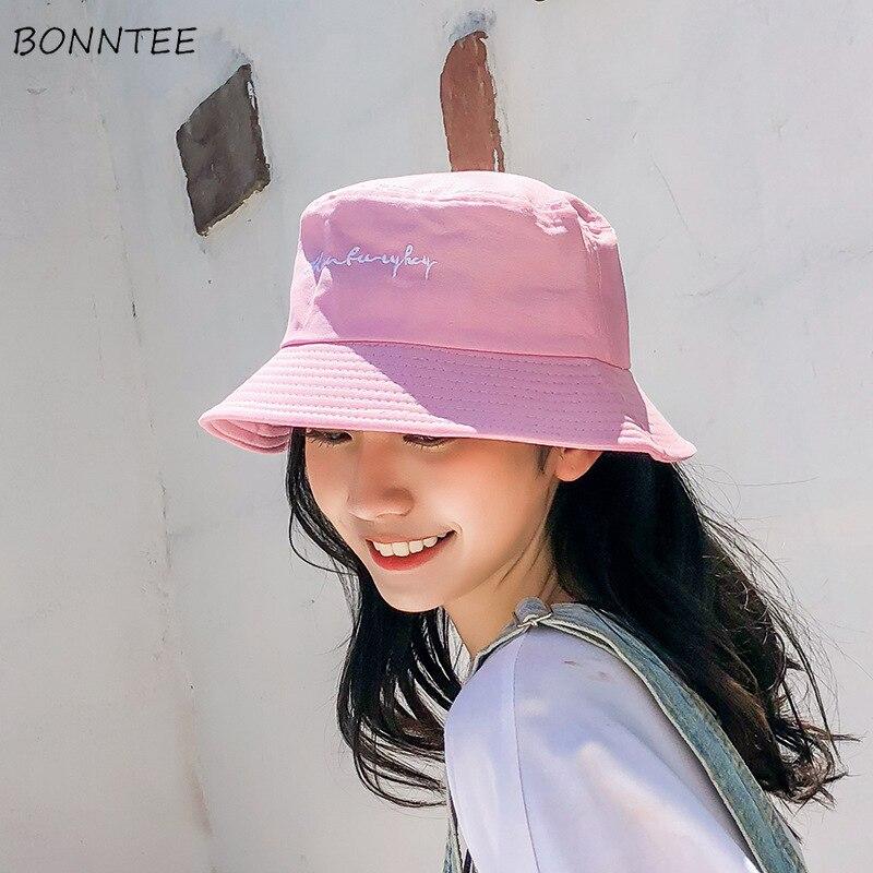 Bucket Hats Women Ulzzang Unisex Shade Summer Embroidery Letter Caps Korean  Style Womens Leisure Kawaii All match Simple Hat Women's Bucket Hats  -  AliExpress
